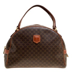 Céline Brown Coated Canvas and Leather Macadam Satchel
