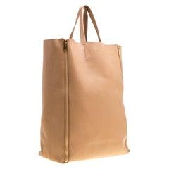 Celine Brown Leather Vertical Zipper Gusset Cabas Tote