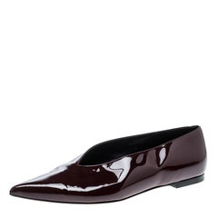 Celine Burgundy Patent Leather V Neck Pointed Toe Flats Size 37