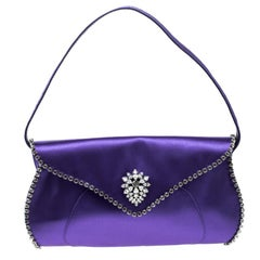 Celine Purple Satin Crystal Embellished Shoulder Bag
