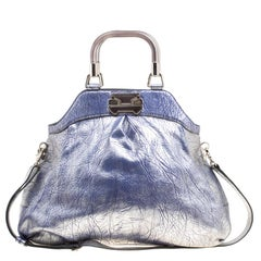Celine Silver/Blue Textured Leather Top Handle Bag