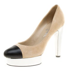Chanel Beige Suede and Black Leather Cap Toe Platform Pumps Size 38