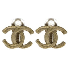 Chanel CC Matte Shimmer Gold Tone Stud Earrings