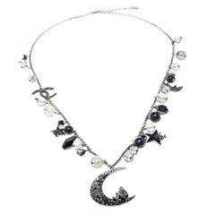 Chanel CC Moon Crystal Bead Charm Silver Tone Pendant Necklace