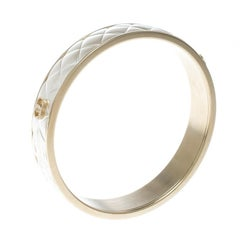 Chanel CC Quilted Two Tone Metal Bangle Bracelet