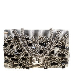 Chanel Black/White Stripe Fabric and Sequin Medium Classic Double Flap Bag