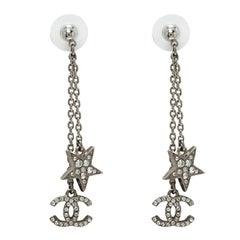 Chanel CC Star Crystal Silver Tone Long Earrings