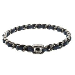 Chanel CC Turnlock Navy Blue Leather Woven Silver Tone Chain Bangle Bracelet 21c