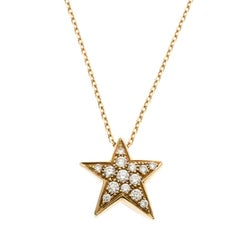 Chanel Comete Star Diamond And Yellow Gold Pendant Necklace