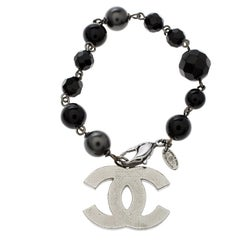 Chanel CC Black Beads Faux Pearl Silver Tone Charm Bracelet 19cm