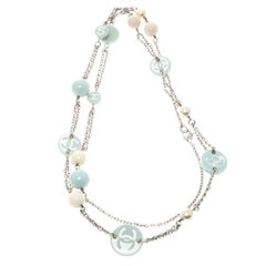 Chanel CC Blue Resin Beads Silver Tone Station Necklace