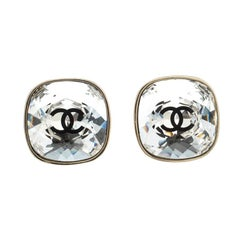 Chanel CC Crystal Gold Tone Stud Earrings
