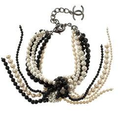Chanel Faux Pearl Black Bead Multi Strand Tassel Bracelet