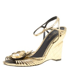 Chanel Gold Leather Camelia Wedge Sandals Size 38.5