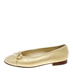 Chanel Gold Leather CC Bow Ballet Flats Size 36