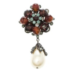Chanel Multicolor Faux Pearl Crystal & Bead Silver Tone Brooch
