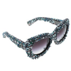 Chanel Multicolor Tweed/Black Gradient 71085 Oversized Sunglasses