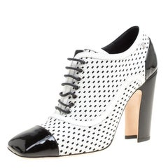 Chanel Monochrome Perforated Leather Lace Up Ankle Booties Size 39.5