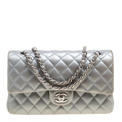 Chanel Grey Quilted Leather Medium Classic Double Flap Bag