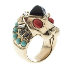 Chanel Lion Head Multi color Cabochon Gold Tone Cocktail Ring Size 52