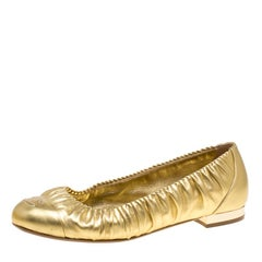 Chanel Metallic Gold Ruched Trim CC Ballet Flats Size 38