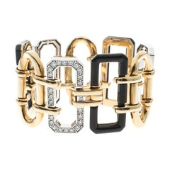 Chanel Première Diamond Onyx & 18K Yellow Gold Chain Link Bracelet