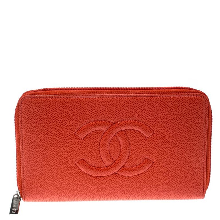 977415364ea1 Chanel Red Leather Timeless CC Zip Around Wallet For Sale at 1stdibs