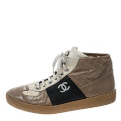 Chanel Tricolor Quilted Leather CC High Top Sneakers Size 40.5
