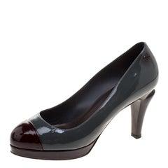 Chanel Two Tone Patent Leather CC Cap Toe Pumps Size 38