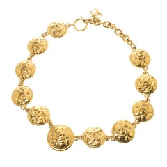 Chanel Vintage CC Quilted Medallion Gold Tone Necklace