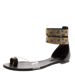 Casadei Two Tone Crystal Embellished Ankle Cuff and PVC Vinil Flat Sandals Size