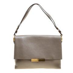 Celine Beige Leather Blade Flap Bag