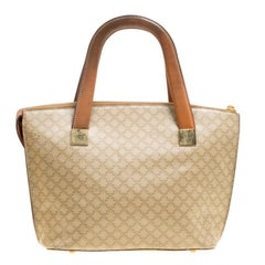 Celine Beige/Brown Coated Canvas and Leather Macadam Zip Tote