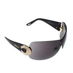 Chopard Black SCH939S Crystal Embellished Shield Sunglasses