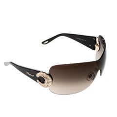 Chopard Brown Gradient SCH939S Crystal Embellished Shield Sunglasses