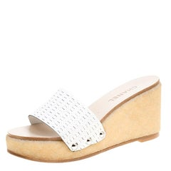 Chanel White Weave Effect Leather Platform Slides Size 39.5