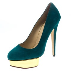 Charlotte Olympia Teal Blue Suede Dolly Platform Pumps Size 40