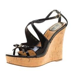 Christian Dior Black Patent Leather Dior Starlet Platform Cork Wedges Size 37