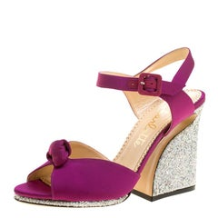 Charlotte Olympia Magenta Satin Vega Peep Toe Ankle Strap Sandals Size 40