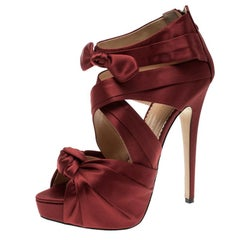 Charlotte Olympia Red Satin Andrea Cross Strap Knotted Platform Sandals Size 41