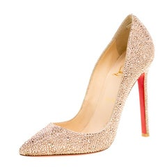Christian Louboutin Beige Crystal Embellished Decollete 554 Pointed Toe Pumps Si