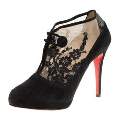 Christian Louboutin Black Suede and Floral Lace Clic Clac Booties Size 39.5