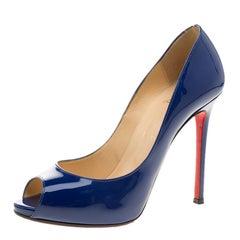 Christian Louboutin Blue Patent Leather Flo Peep Toe Pumps Size 37.5