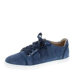 Christian Louboutin Blue Suede Gondolo Sneakers Size 40.5