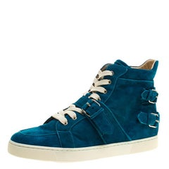 Christian Louboutin Blue Suede High Top Sneakers Size 45