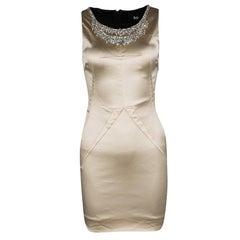 D&G Beige Embellished Sleeveless Satin Dress S
