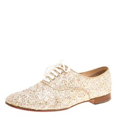 Christian Louboutin Multicolor Glitter Fred Lace Up Oxfords Size 37.5