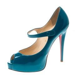 Christian Louboutin Turquoise Bana Mary Jane Platform Pumps Size 39.5