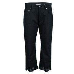 Christopher Kane Black Embroidered Hem Detail Cropped Jeans S