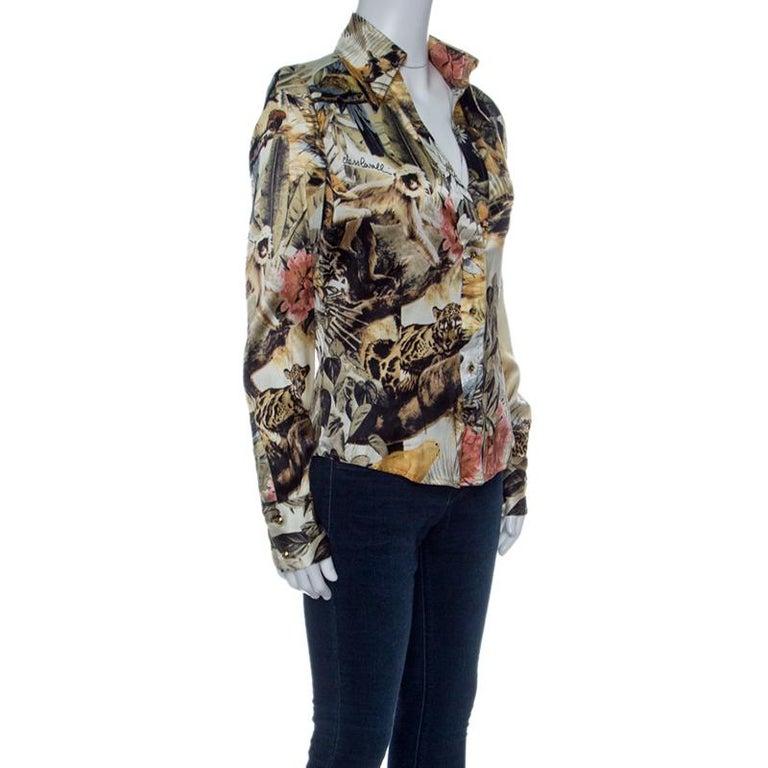 Class von Roberto Cavalli Floral Bedrucktes Stretch Seide Satin Hemd ... 3a9ee05e90